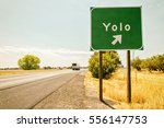 """Small photo of Yolo road sign. """"You Only Live Once"""" concept"""