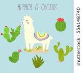 cute vector llama and cactus...   Shutterstock .eps vector #556148740