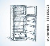 classic grey cooler icebox frig ... | Shutterstock .eps vector #556153126