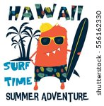 hawaii  surf   cool monster... | Shutterstock .eps vector #556162330