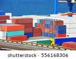 port cargo crane and container... | Shutterstock . vector #556168306