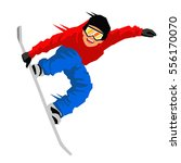 guy in a jump on a snowboard.... | Shutterstock .eps vector #556170070