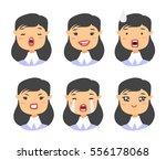 set of asian emoji character.... | Shutterstock .eps vector #556178068
