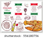 italian restaurant menu with... | Shutterstock .eps vector #556180756