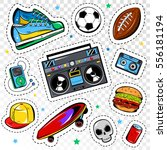 fashion patches collection with ... | Shutterstock .eps vector #556181194