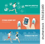 fitness  technology and runners ... | Shutterstock .eps vector #556181680