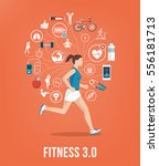 athletic young woman running... | Shutterstock .eps vector #556181713