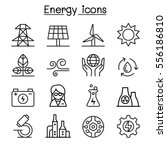 energy icon set in thin line... | Shutterstock .eps vector #556186810