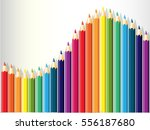 colorful pencils row on white ... | Shutterstock .eps vector #556187680
