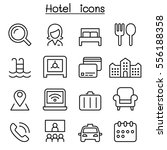 hotel icon set in thin line...