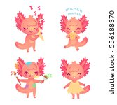 set of cartoon axolotls for... | Shutterstock .eps vector #556188370
