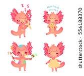 set of cartoon axolotls for... | Shutterstock .eps vector #556188370