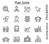 map   symbol icon set in thin... | Shutterstock .eps vector #556188904