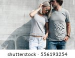 two hipster models man and... | Shutterstock . vector #556193254
