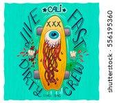skateboard t shirt label design ... | Shutterstock .eps vector #556195360
