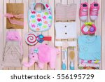 baby fashion. trendy female... | Shutterstock . vector #556195729