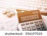 calculator with text retirement ... | Shutterstock . vector #556197010