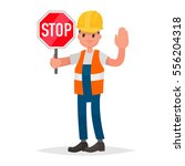 stop. there is no road. road... | Shutterstock .eps vector #556204318