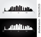miami usa skyline and landmarks ... | Shutterstock .eps vector #556212523