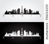 paris skyline and landmarks... | Shutterstock .eps vector #556213153