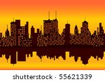 city skyline at sunset or