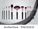 set of makeup cosmetic brushes... | Shutterstock .eps vector #556216510