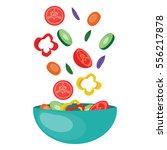 Flying Salad Vegetables In A...