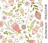 whimsical flowers seamless... | Shutterstock .eps vector #556221448
