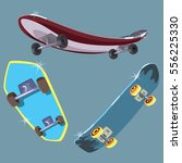 three skateboard on background. ... | Shutterstock .eps vector #556225330