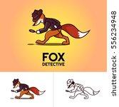 cartoon detective fox character ... | Shutterstock .eps vector #556234948