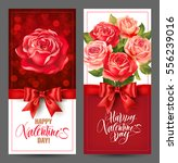 Stock vector valentines day banners with roses and lettering vector set 556239016