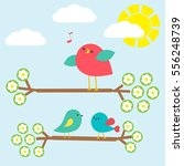 set of cute birds on springtime ... | Shutterstock .eps vector #556248739