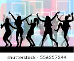 dancing people silhouettes.... | Shutterstock .eps vector #556257244