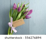 Bouquet Of Purple Tulips Tied...