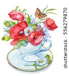 cup with a bouquet of flowers... | Shutterstock . vector #556279870