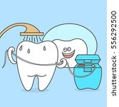 cartoon tooth is taking a... | Shutterstock .eps vector #556292500