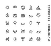 Summer Icons Set Outline Holiday | Shutterstock vector #556306888