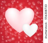 valentine's card on shiny red... | Shutterstock .eps vector #556308733
