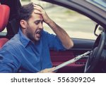 stressed desperate young man... | Shutterstock . vector #556309204