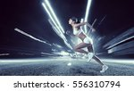 young woman jogger . mixed media | Shutterstock . vector #556310794