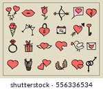 vector set of valentine's and... | Shutterstock .eps vector #556336534