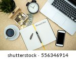 modern wooden office desk table ... | Shutterstock . vector #556346914