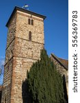 Stock photo a view of the magnificent saxon tower of holy trinity church in the historic town of colchester 556369783