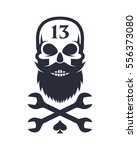 Stock vector bearded skull and crossed wrenches 556373080