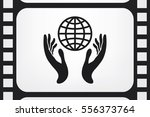 Globe In Hands Icon Vector...