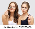 contouring.make up woman face.... | Shutterstock . vector #556378600