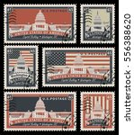 set of stamps with the image of ... | Shutterstock .eps vector #556388620