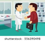 cartoon doctor and patient... | Shutterstock .eps vector #556390498
