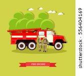 illustration of red fire engine ... | Shutterstock . vector #556404169
