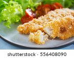 fried fish fillet with bread... | Shutterstock . vector #556408090